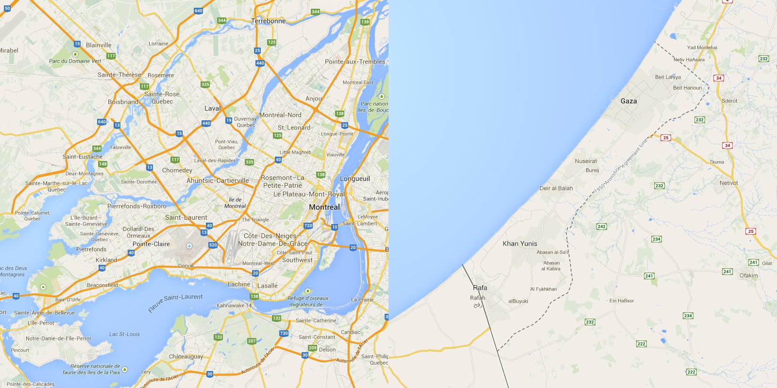 Map of Montreal vs Gaza